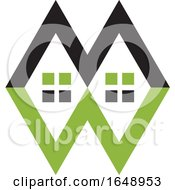 Green And Black Letter M W Design