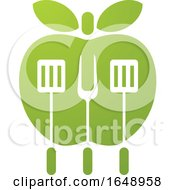 Green Apple With BBQ Utensils