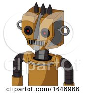 Yellowish Droid With Mechanical Head And Square Mouth And Black Glowing Red Eyes And Three Dark Spikes