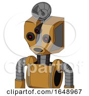 Yellowish Droid With Mechanical Head And Round Mouth And Three Eyed And Radar Dish Hat