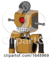 Yellowish Droid With Mechanical Head And Keyboard Mouth And Cyclops Eye And Radar Dish Hat