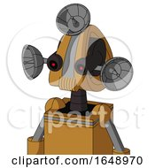 Yellowish Droid With Droid Head And Speakers Mouth And Black Glowing Red Eyes And Radar Dish Hat