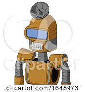 Yellowish Droid With Dome Head And Teeth Mouth And Large Blue Visor Eye And Radar Dish Hat