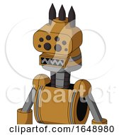 Yellowish Droid With Cone Head And Square Mouth And Bug Eyes And Three Dark Spikes