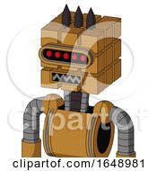 Yellowish Droid With Cube Head And Square Mouth And Visor Eye And Three Dark Spikes