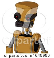 Yellowish Droid With Cylinder Conic Head And Keyboard Mouth And Black Glowing Red Eyes