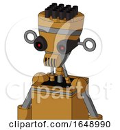 Yellowish Droid With Vase Head And Speakers Mouth And Black Glowing Red Eyes And Pipe Hair