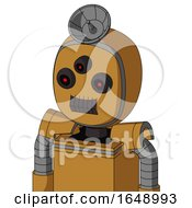 Yellowish Droid With Bubble Head And Dark Tooth Mouth And Three Eyed And Radar Dish Hat