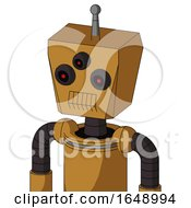 Yellowish Droid With Box Head And Toothy Mouth And Three Eyed And Single Antenna