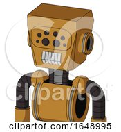Yellowish Droid With Box Head And Teeth Mouth And Bug Eyes