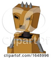 Yellowish Droid With Box Head And Speakers Mouth And Angry Eyes And Three Spiked