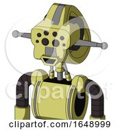 Yellow Robot With Droid Head And Happy Mouth And Bug Eyes