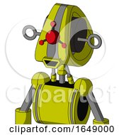 Yellow Robot With Droid Head And Happy Mouth And Cyclops Compound Eyes