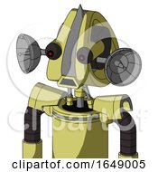 Yellow Robot With Droid Head And Sad Mouth And Red Eyed And Spike Tip