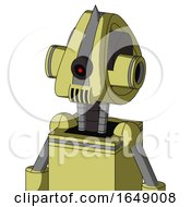 Yellow Robot With Droid Head And Speakers Mouth And Black Cyclops Eye And Spike Tip