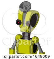 Yellow Robot With Droid Head And Speakers Mouth And Black Glowing Red Eyes And Radar Dish Hat