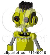 Yellow Robot With Multi Toroid Head And Pipes Mouth And Black Glowing Red Eyes And Pipe Hair