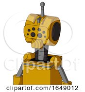 Yellow Robot With Multi Toroid Head And Speakers Mouth And Bug Eyes And Single Antenna
