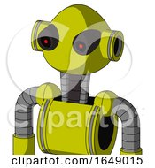Yellow Robot With Rounded Head And Black Glowing Red Eyes