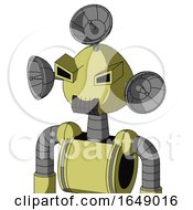 Yellow Robot With Rounded Head And Dark Tooth Mouth And Angry Eyes And Radar Dish Hat