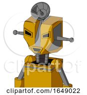 Yellow Robot With Mechanical Head And Happy Mouth And Angry Eyes And Radar Dish Hat