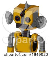 Yellow Robot With Mechanical Head And Keyboard Mouth And Three Eyed And Spike Tip