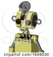 Yellow Robot With Multi Toroid Head And Happy Mouth And Three Eyed And Radar Dish Hat