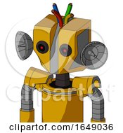 Yellow Robot With Mechanical Head And Black Glowing Red Eyes And Wire Hair