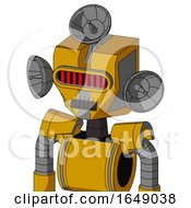 Yellow Robot With Mechanical Head And Dark Tooth Mouth And Visor Eye And Radar Dish Hat