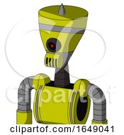 Yellow Robot With Vase Head And Speakers Mouth And Black Cyclops Eye And Spike Tip