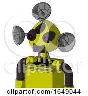 Yellow Robot With Rounded Head And Dark Tooth Mouth And Three Eyed And Radar Dish Hat
