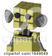Yellow Robot With Cube Head And Vent Mouth And Two Eyes