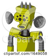 Yellow Robot With Cylinder Conic Head And Round Mouth And Bug Eyes And Three Spiked