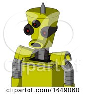 Yellow Robot With Cylinder Conic Head And Round Mouth And Three Eyed And Spike Tip