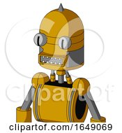 Yellow Robot With Dome Head And Square Mouth And Two Eyes And Spike Tip
