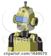 Yellow Robot With Dome Head And Vent Mouth And Large Blue Visor Eye And Single Antenna