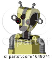 Yellow Robot With Droid Head And Dark Tooth Mouth And Three Eyed And Double Antenna