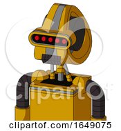Yellow Robot With Droid Head And Dark Tooth Mouth And Visor Eye