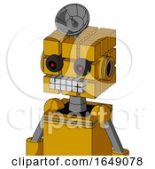 Yellow Robot With Cube Head And Keyboard Mouth And Black Glowing Red Eyes And Radar Dish Hat