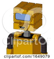 Yellow Robot With Cube Head And Happy Mouth And Large Blue Visor Eye
