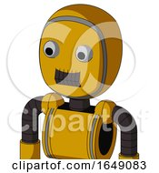 Yellow Robot With Bubble Head And Dark Tooth Mouth And Two Eyes