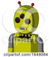 Yellow Robot With Bubble Head And Round Mouth And Three Eyed And Double Led Antenna