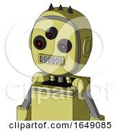 Yellow Robot With Bubble Head And Square Mouth And Three Eyed And Three Dark Spikes