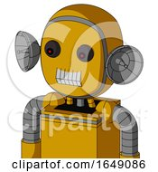 Yellow Robot With Bubble Head And Teeth Mouth And Red Eyed