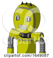 Yellow Robot With Bubble Head And Teeth Mouth And Two Eyes And Three Dark Spikes