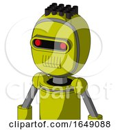 Yellow Robot With Bubble Head And Toothy Mouth And Visor Eye And Pipe Hair