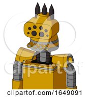 Yellow Robot With Cone Head And Pipes Mouth And Bug Eyes And Three Dark Spikes