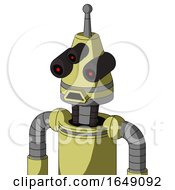 Yellow Robot With Cone Head And Sad Mouth And Three Eyed And Single Antenna