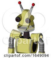 Yellow Robot With Cone Head And Square Mouth And Red Eyed And Double Led Antenna