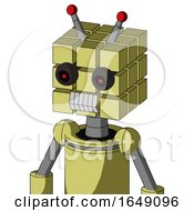 Yellow Robot With Cube Head And Teeth Mouth And Black Glowing Red Eyes And Double Led Antenna